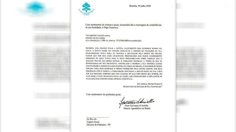 Mensagem do Papa Francisco